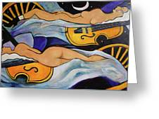 Sleeping Cellists Greeting Card by Valerie Vescovi