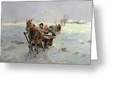 Sleighs In A Winter Landscape Greeting Card by Janina Konarsky