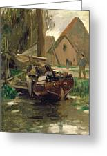 Small Harbor With A Boat Greeting Card by Thomas Ludwig Herbst