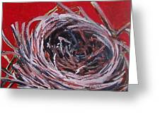 Small Nest On Red Greeting Card by Tilly Strauss