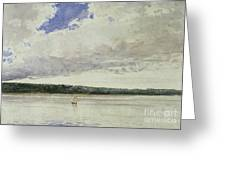 Small Sloop On Saco Bay Greeting Card by Winslow Homer