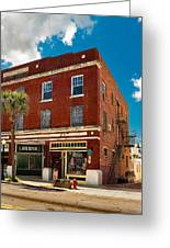 Small Town Shops Greeting Card by Christopher Holmes