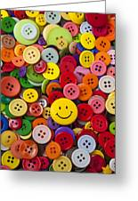 Smiley Face Button Greeting Card by Garry Gay