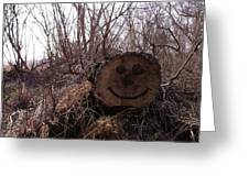 Smiley Log Greeting Card by Anna Villarreal Garbis