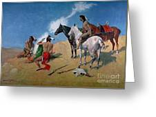 Smoke Signals Greeting Card by Frederic Remington