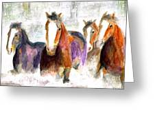 Snow Horses Greeting Card by Frances Marino