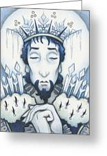 Snow King Slumbers Greeting Card by Amy S Turner