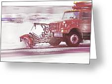 Snow Plow In Business Park 2 Greeting Card by Steve Ohlsen