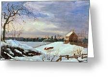 Snow Scene In New England Greeting Card by American School