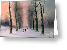 Snow Scene Wanstead Park   Greeting Card by Nils Hans Christiansen
