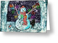 Snowman And Cat Greeting Card by Catherine Martha Holmes