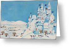 Snowman Castle Greeting Card by Christian Kaempf