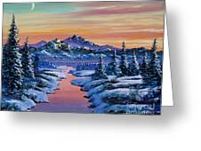 Snowy Creek Greeting Card by David Lloyd Glover