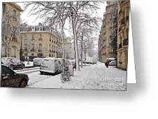 Snowy Day in Paris Greeting Card by Louise Heusinkveld