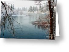 Snowy Day On The River Greeting Card by Beve Brown-Clark Photography