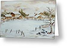 Snowy Village Greeting Card by Xueling Zou