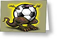 Soccer Saurus Rex Greeting Card by Kevin Middleton