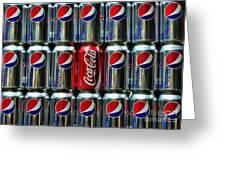 Soda - Coke Vs. Pepsi Greeting Card by Paul Ward