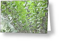 Soft Green And Gray Abstract Greeting Card by Carol Groenen