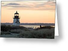 Solitude At Brant Point Light Nantucket Greeting Card by Henry Krauzyk