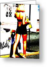 South Beach Waitress Greeting Card by Funkpix Photo Hunter