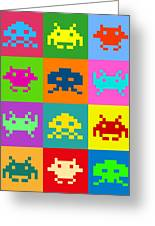 Space Invaders Squares Greeting Card by Michael Tompsett