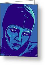 Spaceman In Blue Greeting Card by Giuseppe Cristiano