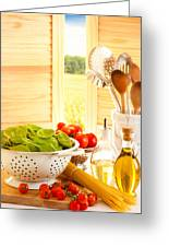 Spaghetti And Tomatoes In Country Kitchen Greeting Card by Amanda Elwell