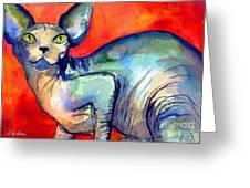 Sphynx Cat 6 Painting Greeting Card by Svetlana Novikova