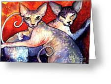 Sphynx Cats Sphinx Family Painting  Greeting Card by Svetlana Novikova
