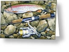 Spin Trout Greeting Card by Mark Jennings