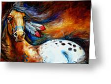 Spirit Indian Warrior Pony Greeting Card by Marcia Baldwin