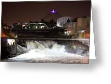 Spokane Falls Night Scene Greeting Card by Carol Groenen