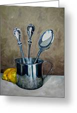 Spoons Lemons And A Baby Cup Greeting Card by Amy Higgins