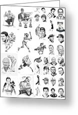 Sports Figures Collage Greeting Card by Murphy Elliott