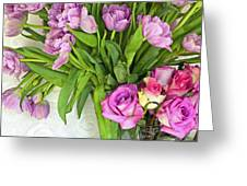 Spring Roses And Tulips Greeting Card by Margaret Hood