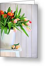 Spring Tulips On An Old Bench Greeting Card by Sandra Cunningham