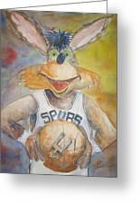 Spurs Coyote Greeting Card by Barbara Kelley
