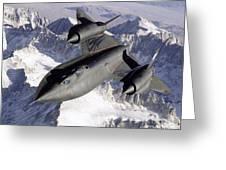 Sr-71b Blackbird In Flight Greeting Card by Stocktrek Images