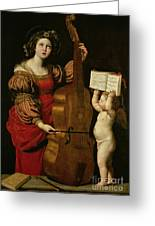 St. Cecilia With An Angel Holding A Musical Score Greeting Card by Domenichino