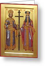 St Constantine The Great  And His Mother Helena Sfintii Imparati Constantin Si Elena Greeting Card by Daniel Neculae