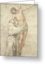 St Francis Rejecting The World And Embracing Christ Greeting Card by Bartolome Esteban Murillo