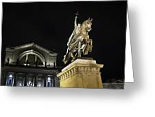 St Louis Art Museum With Statue Of Saint Louis At Night Greeting Card by David Coblitz