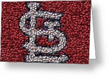 St. Louis Cardinals Bottle Cap Mosaic Greeting Card by Paul Van Scott