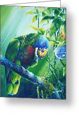 St. Lucia Parrot And Wild Passionfruit Greeting Card by Christopher Cox