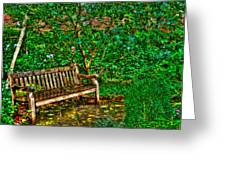 St. Luke In The Field Garden Bench Greeting Card by Randy Aveille