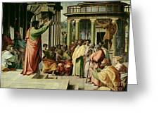 St. Paul Preaching at Athens  Greeting Card by Raphael
