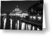 St. Peters At Night Greeting Card by Donna Corless