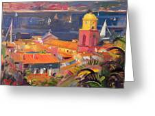 St Tropez Sailing Greeting Card by Peter Graham