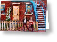St. Urbain Street Boys Greeting Card by Carole Spandau